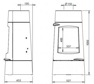 Dimensions du poêle à bois Aratos