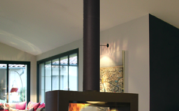 Cheminée suspendue Sax à foyer central rotatif à 360°